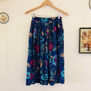 Vintage Pleated Floral Midi Skirt